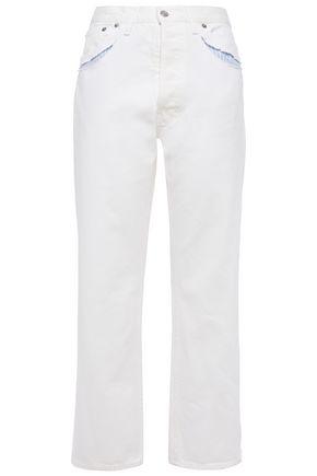 MAISON MARGIELA Cutout stripe-trimmed high-rise straight-leg jeans