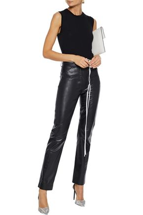 Victoria Beckham Belted Leather Straight-leg Pants In Black