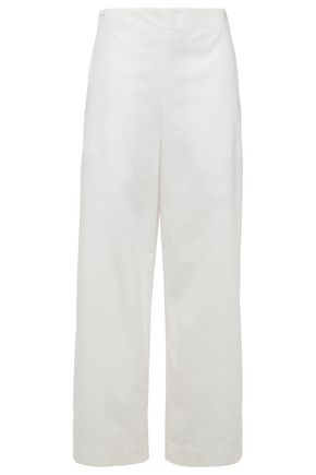 THEORY Cotton and silk-blend wide-leg pants