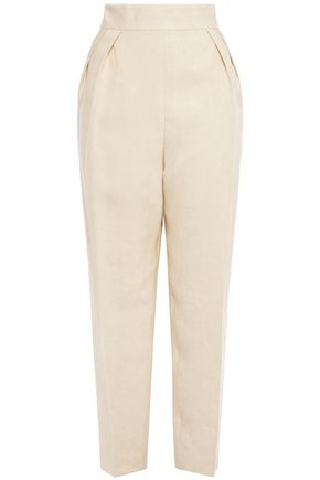 THEORY Pleated linen tapered pants