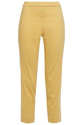 THEORY Cropped slub linen-blend slim-leg pants