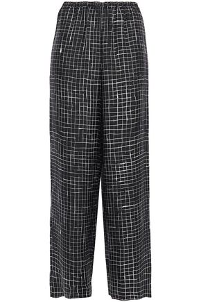 THEORY Checked silk-twill wide-leg pants
