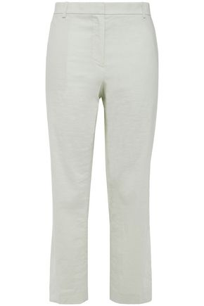 THEORY Cropped slub flax linen-blend straight-leg pants