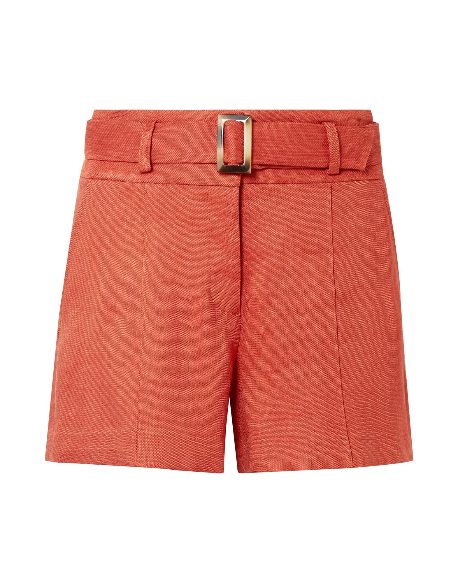 VERONICA BEARD Shorts. plain weave, belt, basic solid color, hook-and-bar, zip, high waisted, multipockets, stretch. 69% Linen, 29% Viscose, 2% Elastane