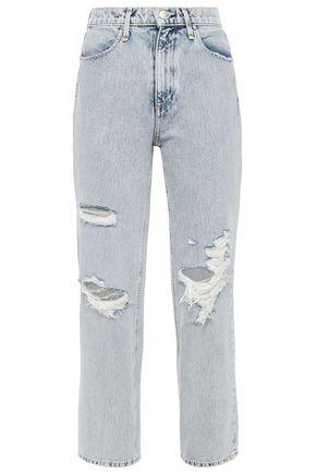 RAG & BONE جينز قصير بأرجل مستقيمة مرتفع الخصر وممزّق