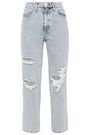 RAG & BONE Cropped distressed high-rise straight-leg jeans