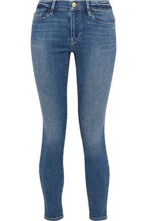 FRAME Le Skinny De Jeanne distressed low-rise skinny jeans