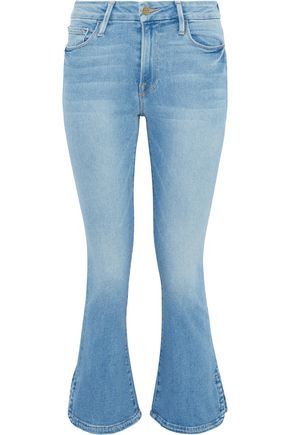 FRAME Le Crop faded mid-rise bootcut jeans