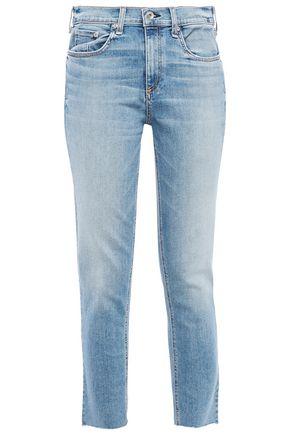 "RAG & BONE جينز سكيني متوسط الخصر ""إيليرلي"" مع حواف منسلة"