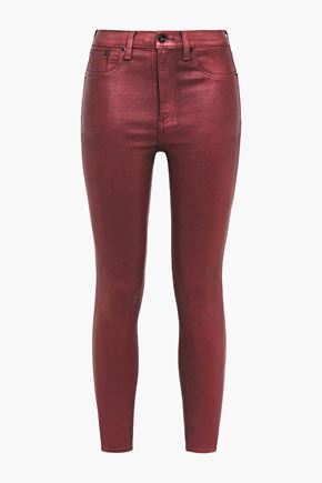 RAG & BONE Coated metallic high-rise skinny jeans