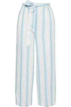 FRAME Cropped belted striped linen wide-leg pants