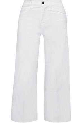 FRAME Le Vintage cropped frayed high-rise wide-leg jeans
