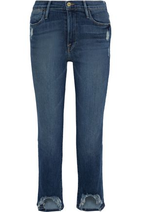 FRAME Le High cropped distressed high-rise straight-leg jeans