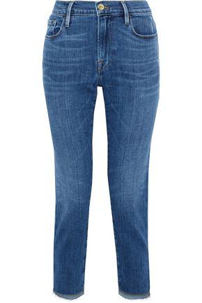 FRAME Le Garcon cropped distressed boyfriend jeans