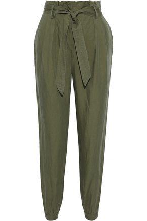 FRAME Paperbag belted linen-blend tapered pants