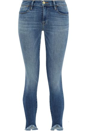 FRAME Le High cropped frayed low-rise skinny jeans