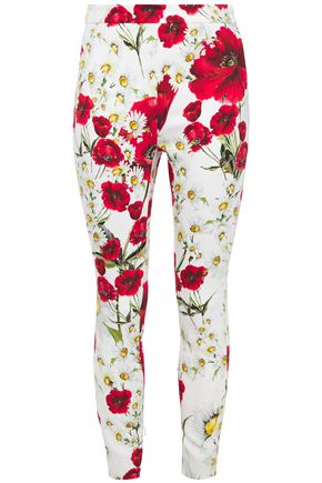 DOLCE & GABBANA Cropped floral-print crepe skinny pants