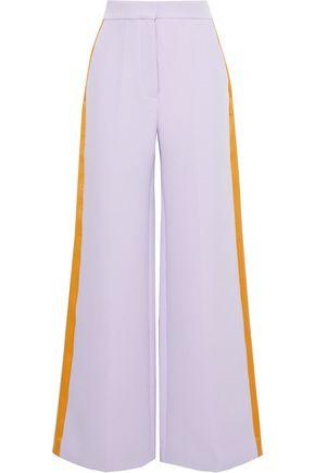 ROKSANDA Satin-trimmed crepe wide-leg pants