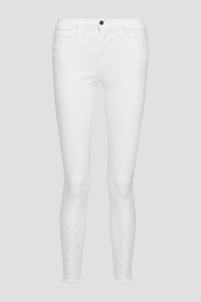 FRAME Le Skinny De Jeanne broderie anglaise low-rise skinny jeans