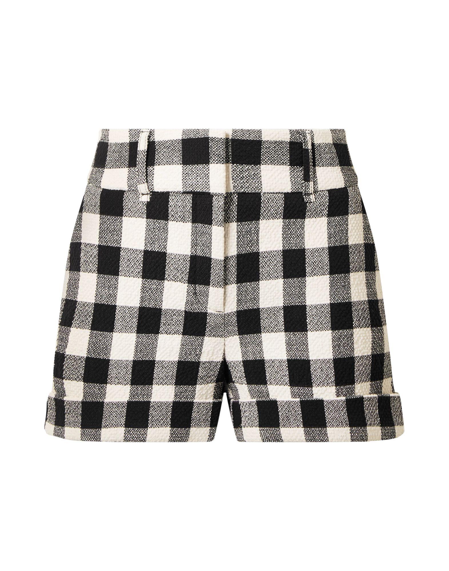 VERONICA BEARD Shorts. tweed, no appliqués, checked, mid rise, hook-and-bar, zip, multipockets, cuffed hems. 99% Cotton, 1% Elastane