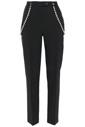 CHRISTOPHER KANE Cupchain crystal-embellished twill tapered pants