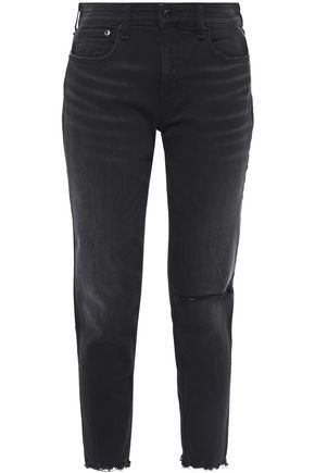 RAG & BONE Distressed mid-rise slim-leg jeans