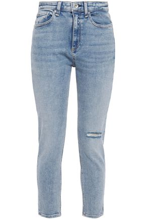 RAG & BONE Cropped distressed faded high-rise skinny jeans