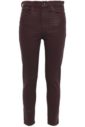 RAG & BONE Cropped coated high-rise skinny jeans