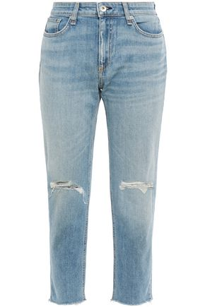 RAG & BONE Dre cropped distressed faded boyfriend jeans