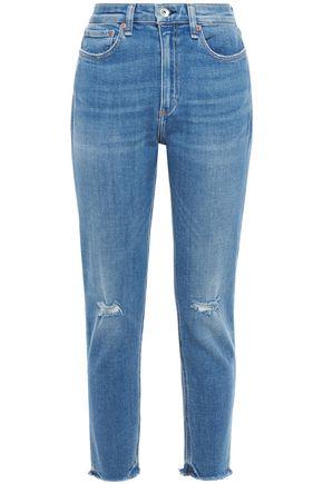 RAG & BONE جينز قصير بأرجل ضيقة مرتفع الخصر ومقطع بلون باهت