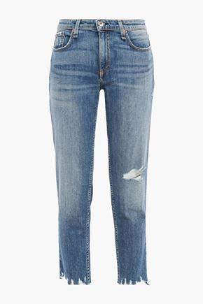 RAG & BONE Dre cropped distressed faded boyfriend jeans
