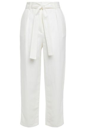 MAJE Cropped belted twill tapered pants
