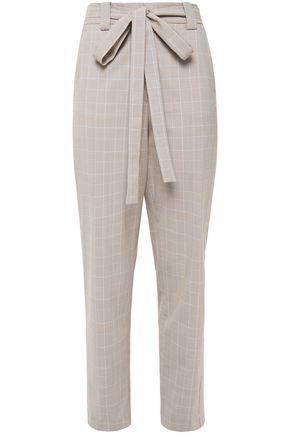 MAJE Belted Prince of Wales checked tapered pants