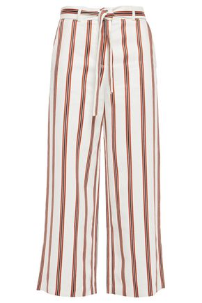MAJE Cropped striped twill wide-leg pants