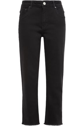 MAJE Cropped high-rise straight-leg jeans