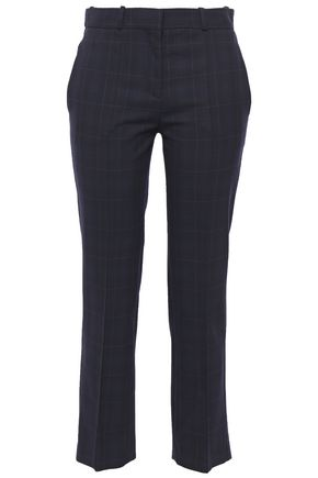 MAJE Cropped checked twill tapered pants