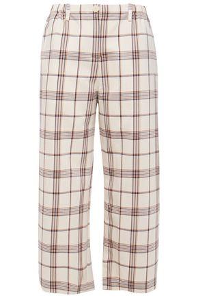 MAJE Cropped checked twill wide-leg pants