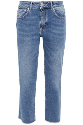 MAJE Pannableu cropped embroidered high-rise slim-leg jeans