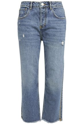 MAJE Cropped distressed high-rise straight-leg jeans