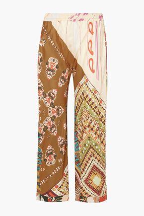 CHLOÉ Printed silk-twill wide-leg pants
