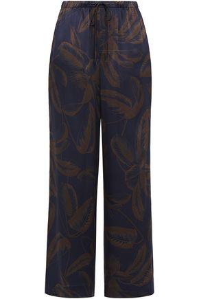VINCE. Floral-print silk wide-leg pants