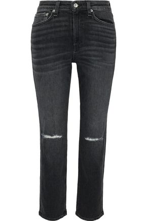 RAG & BONE Nina distressed high-rise straight-leg jeans