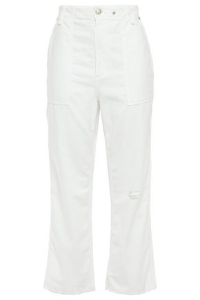 RAG & BONE Kaye cropped distressed cotton straight-leg pants