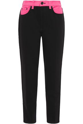 RAG & BONE Ash cropped two-tone mid-rise tapered jeans