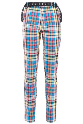 MARQUES' ALMEIDA Belted checked woven slim-leg pants