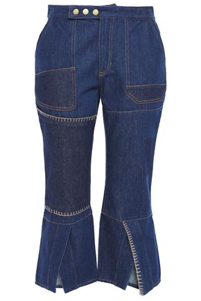 MARQUES' ALMEIDA Patchwork high-rise kick-flare jeans