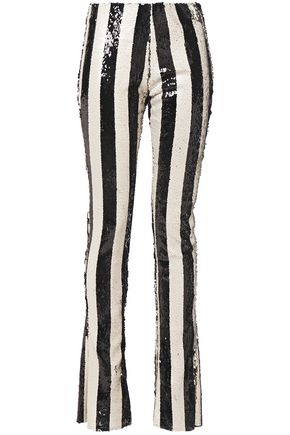 MARQUES' ALMEIDA Striped sequined tulle bootcut pants