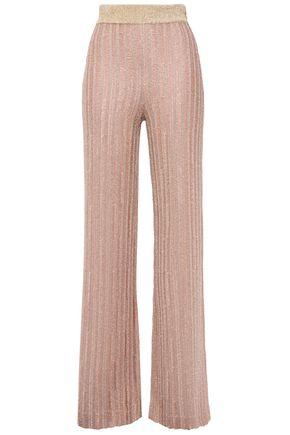 HERVÉ LÉGER Distressed metallic ribbed crochet-knit flared pants