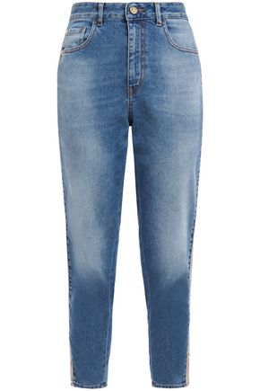 JUST CAVALLI Cropped faux leather-trimmed faded boyfriend jeans