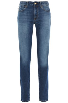JUST CAVALLI Printed faded mid-rise slim-leg jeans